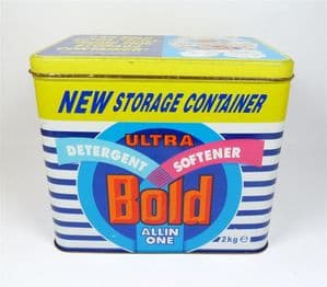 Post Vintage Kitchen Storage 2kg Ultra Bold All In One Tin Laundry Container Handle Washing Powder
