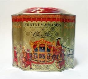 Post Vintage Tin 2013 Sealed Fortnum & Mason Christmas Banquet Festive Spiced Tea Caddy Royal Coach