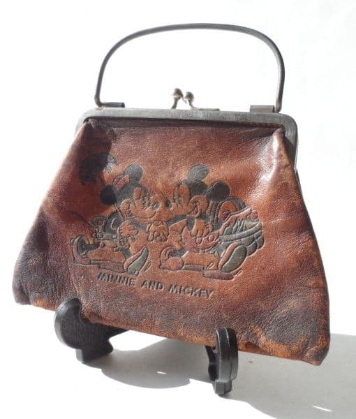 Rare HTF Unusual Vintage Minnie and Mickey Mouse Leather Purse Circa 1930s Disney Bag Disneyana