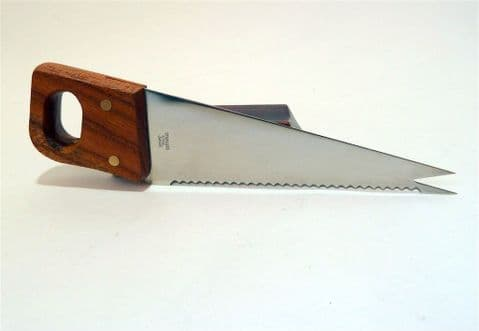 Vintage Bar Figural Hand Saw Cocktail Knife Japan 1950s Woodworking Carpenter Quirky Gift Cheese