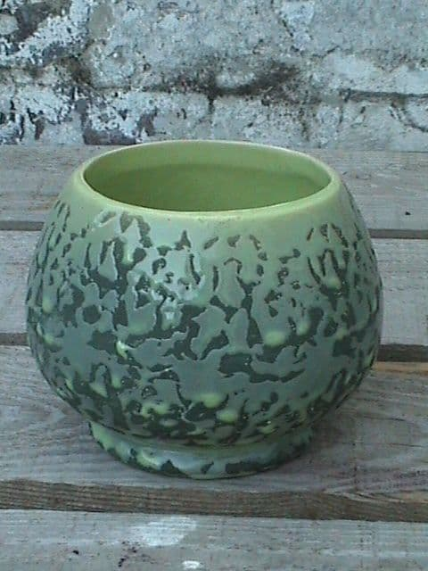 Unusual Vintage McCoy USA Art Pottery Green Brocade Bowl Planter Circa 1950s
