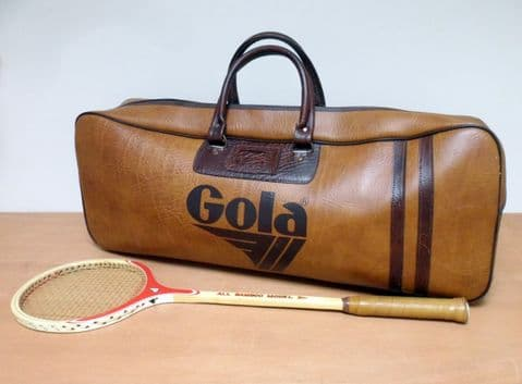 Very HTF Vintage Original Genuine Gola Gym Sports Exercise Holdall Bag Circa 1970s Case Travel Weekend Luggage Vinyl Leather