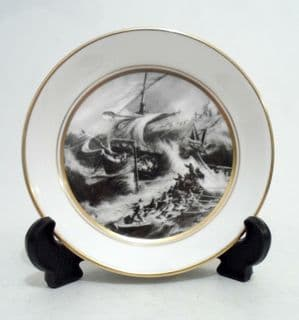 Vintage 1974 Royal Worcester Small Plate Pin Dish Schooner John Slater of Barrow Lifeboat Constance