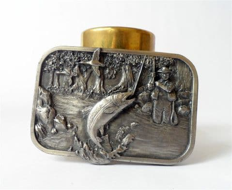 Vintage 1982 Pewter Siskiyou Leather & Buckle Belt Buckle Oregon USA Fishing M-10 Angling  Fly Trout