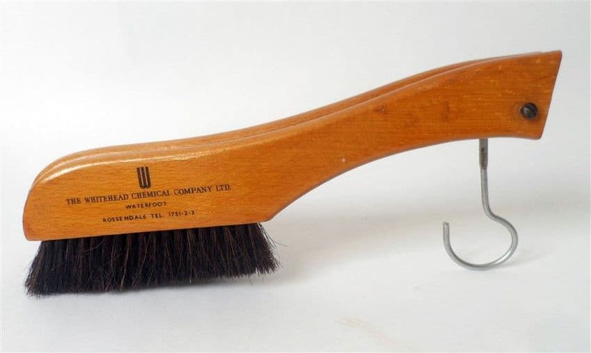 Vintage Advertising Folding Wood Coat Hanger Clothes Brush Whitehead Chemical Co Rossendale