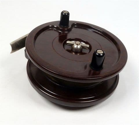 "Vintage Allcock of Redditch England Centre Pin Aerialite Swimming Bakelite 3 3/4"" Fishing Reel #B121"