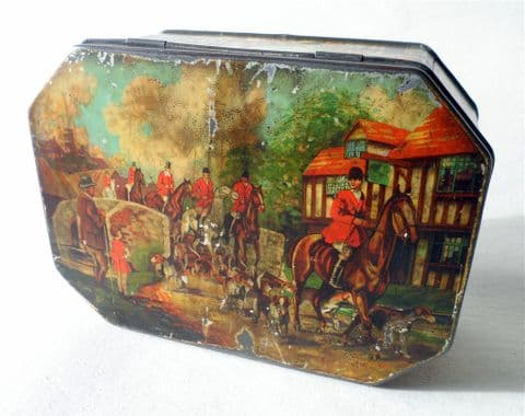 Vintage Antique Biscuit Toffee Tin Village Hunting Scenes Circa 1930s Horses Foxes Horse Fox Hounds Hunt Huntsman Equestrian