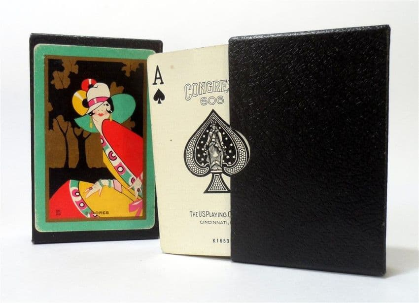 Vintage Art Deco Bridge Playing Cards Congress 606 US Playing Card Co  Lady Dolores Circa 1928 Boxed