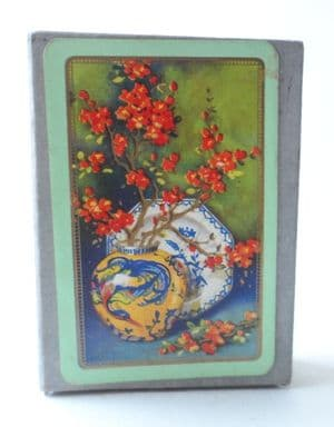 Vintage Art Deco Playing Cards Chinese Dragon Vase Plate Blossom 1930s Wills Advertising Score Card