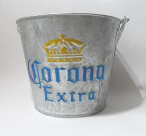 Vintage Bar Galvanised Metal Corona Extra Ice Bucket Bottle Opener Cooler Cafe Wine Pail Planter