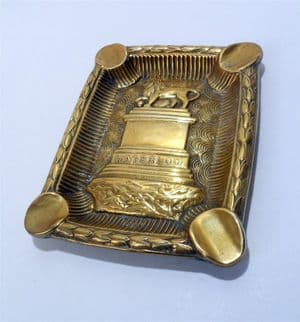 Vintage Brass Battle of Waterloo 1815 Cigar Cigarette Ashtray Circa 1910 Lions Mound