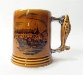 Vintage Caldey Island Pottery Half Pint Fish Handle Tankard Mug 1960s Cistercian Abbey Celtic Monks