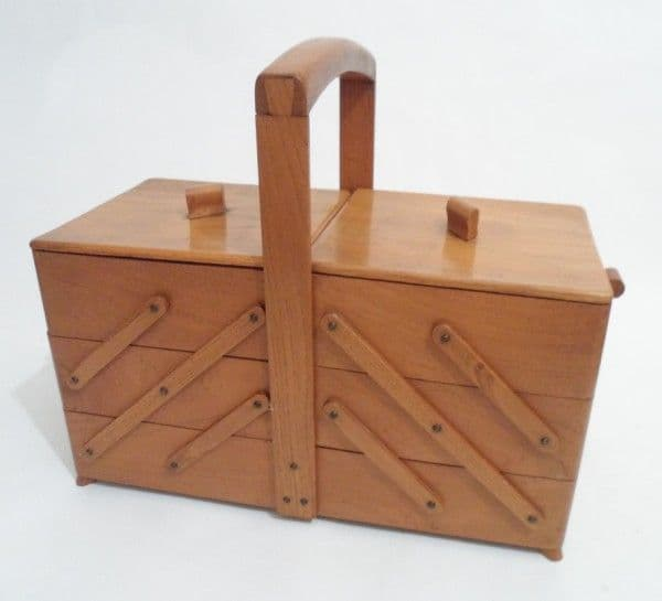 Vintage Cantilever Wooden Wood Sewing Craft Art Box Circa 1950s Art Deco Display Storage Basket