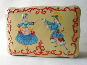Vintage Carr & Co Ltd Carrs Carlisle England Biscuit Tin Sampler Circa 1960s Lady & Cavalier Unusual Design Embossed