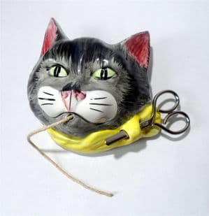 Vintage Ceramic Cat Face Pottery Head String Yarn Holder Babbacombe England 1960s Scissor Holder