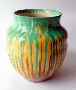 Vintage Ceramics Early Wadeheath Pottery Vase 1930s Art Deco Drip Glaze Wade Heath Green Brown