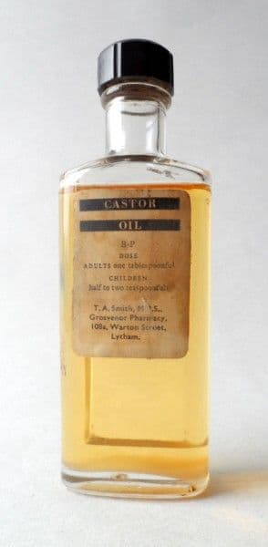Vintage Chemist Castor Oil Glass Bottle T A Smith MPS Grosvenor Pharmacy Warton Street Lytham 1930s