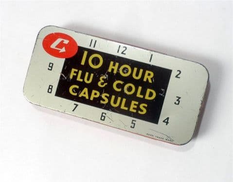 Vintage Chemist Medical Tin Cupal Blackburn 10 hour Flu & Cold Capsules 1960s Clock Face Design