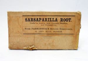 Vintage Chemist Medical Unopened Packet Box of Parkinsons Oldham Botanic Sarsaparilla Root Scurvy