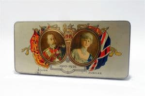 Vintage Chocolate Tin Cadburys Cadbury's Queen Mary King George Royal Silver Jubilee 1935 Comp Card