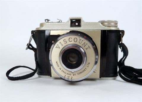Vintage Coronet Ltd Viscount 828 Roll Film Box Camera  Birmingham England 1957 Original Strap N11811