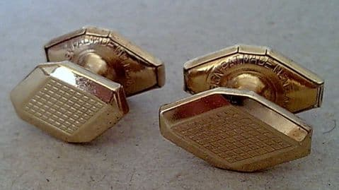 Vintage Cufflinks Cuff Links Art Deco Geometric Design Patent Retractable Chain Gold Filled 1930s