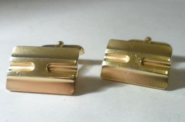 Vintage Cufflinks West German Goldtone Gold Tone Designer Fashion Circa 1970s
