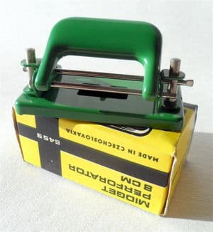 Vintage Desk Office Green KIN Metal Hole Perforation Paper Punch Midget Perforator No. 5459 Czechoslovakia 1970s Unused in Original Box