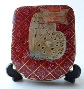 Vintage Edward Sharp Sharps Super Kreem Toffee Tin Large Blue Butterfly 1950s Maidstone Kent