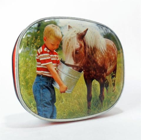 Vintage Edward Sharp Sharps Toffee Tin Boy feeding Pony 1950s Maidstone Kent Small Horse Foal
