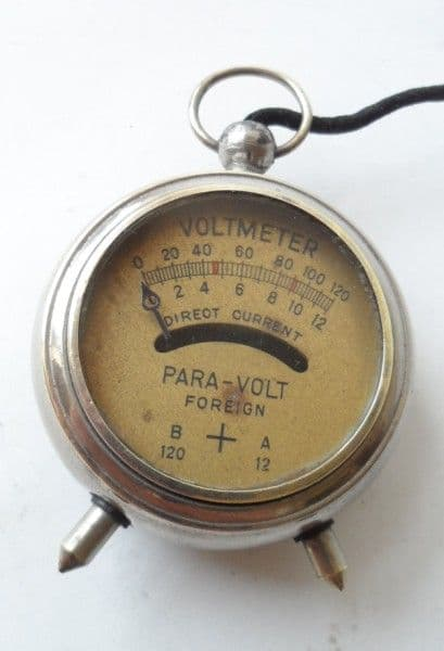 Vintage Engineers Pocket Fob Watch Para-Volt High & Low Reading Voltmeter Circa 1920s Battery Tester