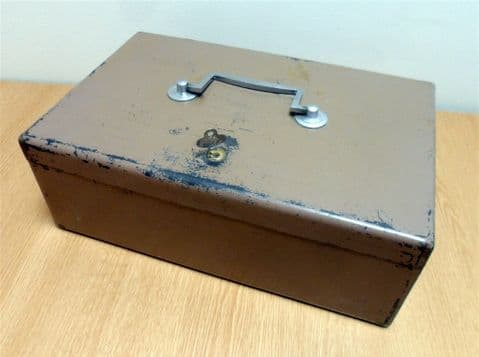 Vintage FCB Yale Lock Metal Cash Money Deed Strong Box Full Working Lock & Key Circa 1950s Safe Storage Heavy