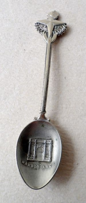 Vintage Festival of Britain 1951 Exhibition Marble Arch Silver Plate Souvenir Spoon FOB Teaspoon Tea