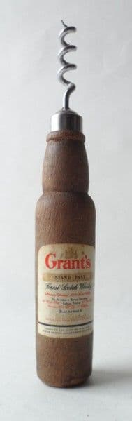 Vintage Figural Advertising Grant's Stand Fast Scotch Whisky Wood Wooden Bottle Corkscrew 1960s