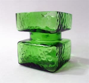 Vintage Finnish Art Glass Green Pala Vase by Helena Tynell for Riihimaki Riihimaen 1960s 1970s