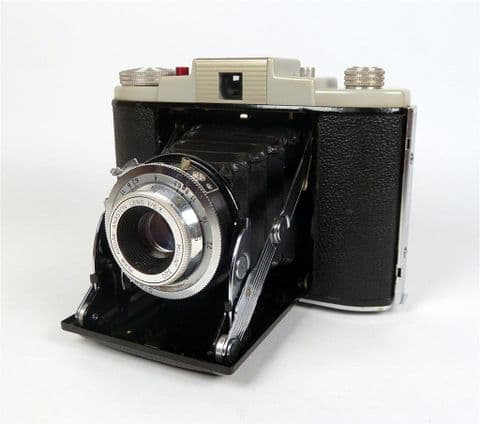 Vintage Folding Camera English Kodak 66 Model II 2 1950s Vario Shutter Anaston Lens 1/2 Leather Case