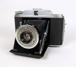 Vintage Folding Camera GB Kershaw 110 Made in England 120 Roll Film Circa 1950s Part Leather Case