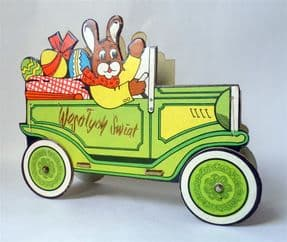 Vintage Folding Card Easter Bunny Car Table Decoration Circa 1960s Polish Basket Display Shop Home
