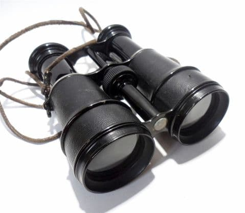 Vintage French 8 Lenses Binoculars Field Glasses Compass in Leather Case  1940s WW2 Walking Touring