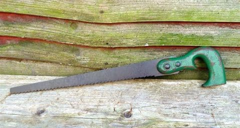 Vintage Gardening Tool Pruning Saw Circ 1930s Garden Pruning Decorative Display Original Green Paint