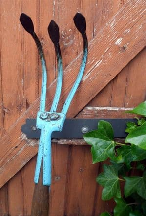 Vintage Gardening Tool Wooden Long Handled Jenks & Cattell 3 Tine Cultivator 1950s  Original Paint
