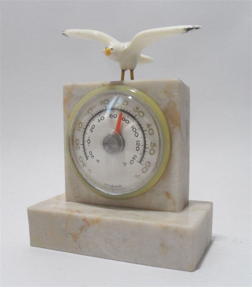 Vintage Geological Souvenir Marble Stone Desk Thermometer Seagull 1950s