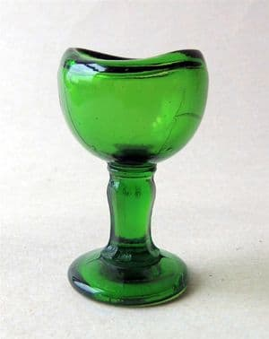 Vintage George Harold Needham MPS Manor Sheffield Chemist Green Glass Stem Eye Bath Wash Circa 1930s