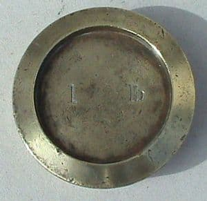 Vintage George V Brass Shop Weight 1 lb Pound GR 28 County of London Circa 1920s Paperweight