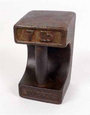 Vintage George VI Shop Cast Iron Avery Bar Weight 7lb 7 Pounds Door Stop Northumberland County 1949