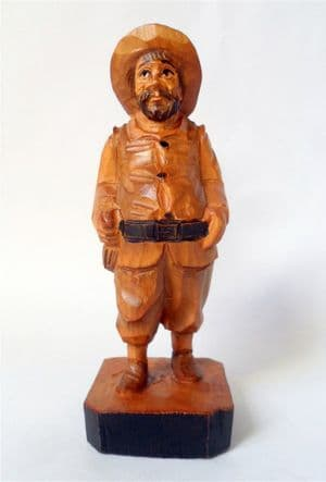 Vintage Hand Carved Wooden Wood Man Figurine Figure Sanchez Spain Sancho Panza 50s European Folk Art
