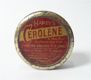 Vintage Hardy Bros Alnwick England Cerolene Tin c/w Contents Fly Spinning Fishing Angling Tackle Box