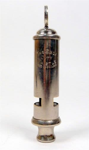 """Vintage Hudson The Emca City Whistle Made in England GSW Walking Police Fire General Service 3.625"""""""