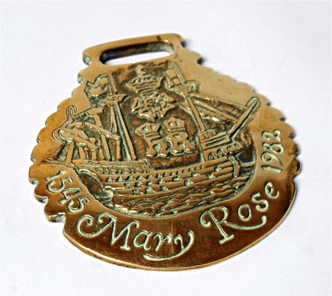 Vintage John Ellis of Market Rasen Mary Rose 1545-1982 Horse Brass Seal Stamped Nautical Maritime