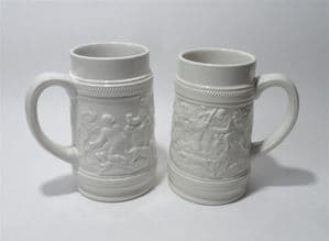 Vintage Kitchen Bar Pair of Mid Century White Ironstone Tankards by T G Green Hunt Club Drinking